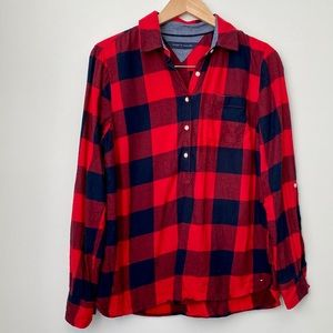 Tommy Hilfiger 3/4 Button Down Plaid Navy Red